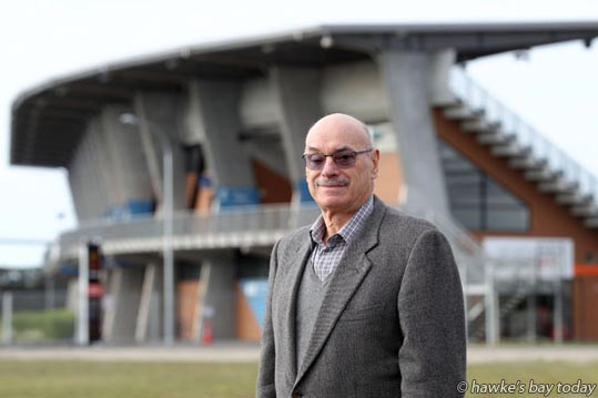 Sir Graeme Avery, chairman, Hawke's Bay Community Fitness Centre Trust, on the site of a new AUT Millennium health and sports facility, at the Hawke's Bay Regional Sports Park in Hastings. photograph