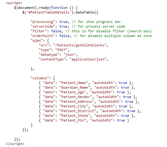 Jquery datatable example in MVC