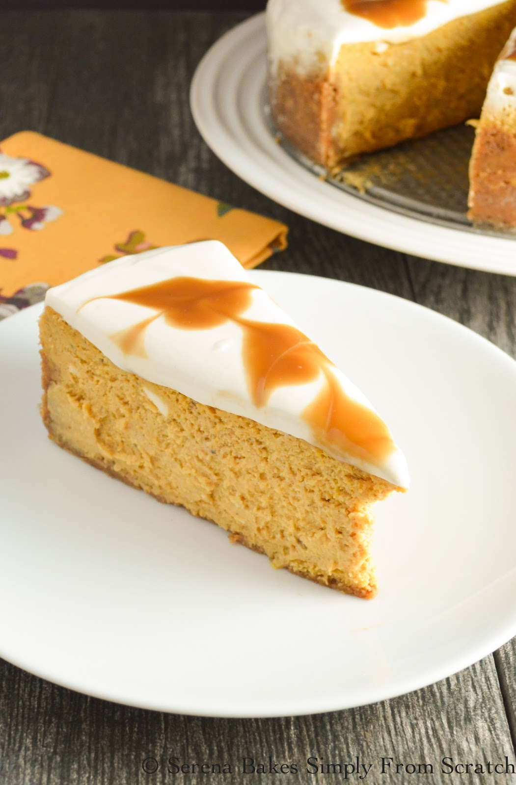 Pumpkin Cheesecake With Butterscotch Swirl is an elegant dessert perfect for Thanksgiving or Christmas. www.serenabakessimplyfromscratch.com