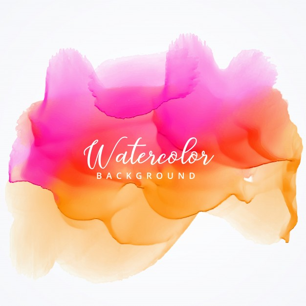 Pink and orange watercolor stain background Free Vector