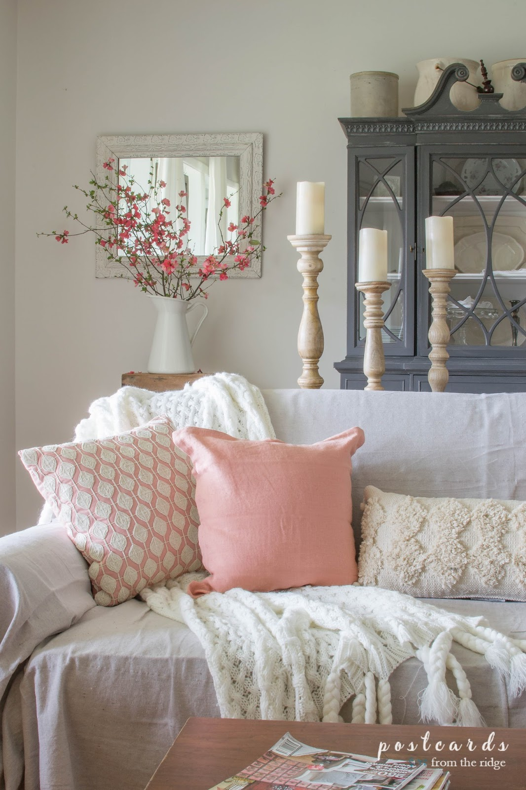 Blush and bashful spring accents in the living room for Home decorations pictures
