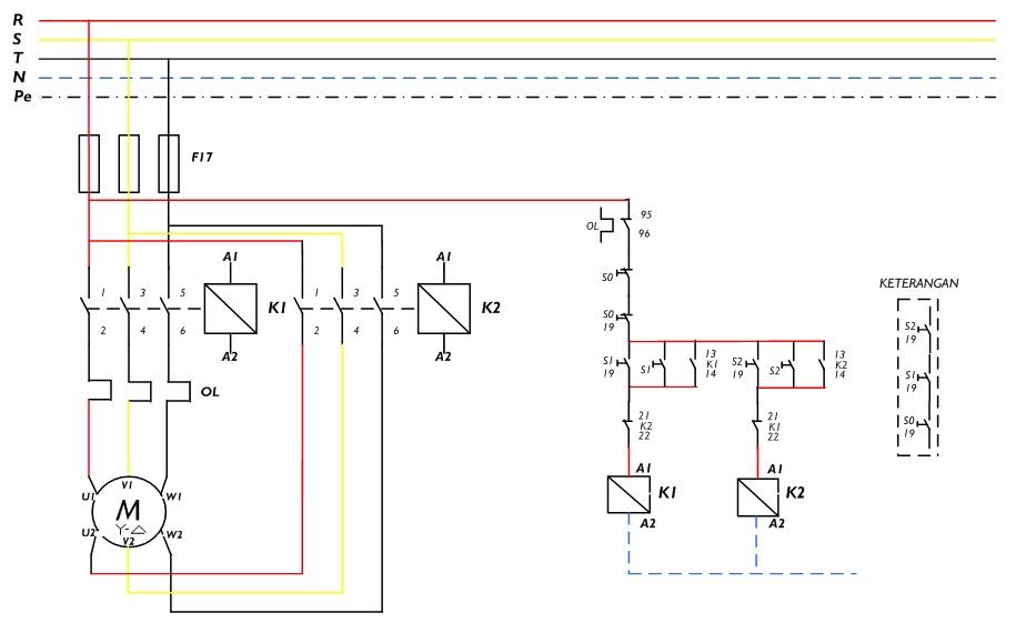 Gambar rangkaian kontrol & daya untuk motor D-Y