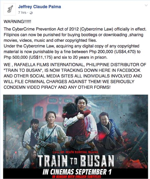 """Train to Busan"" warning piracy"