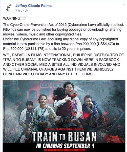 """Train to Busan"" warning piracy"