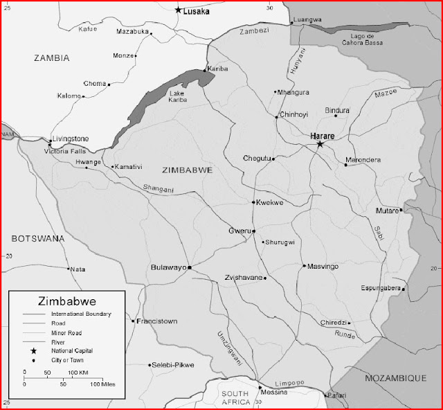 image: Black and white Zimbabwe Map