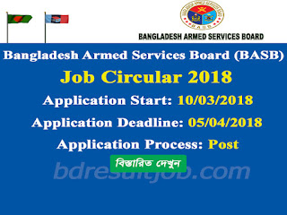 Bangladesh Armed Services Board (BASB) Job Circular 2018