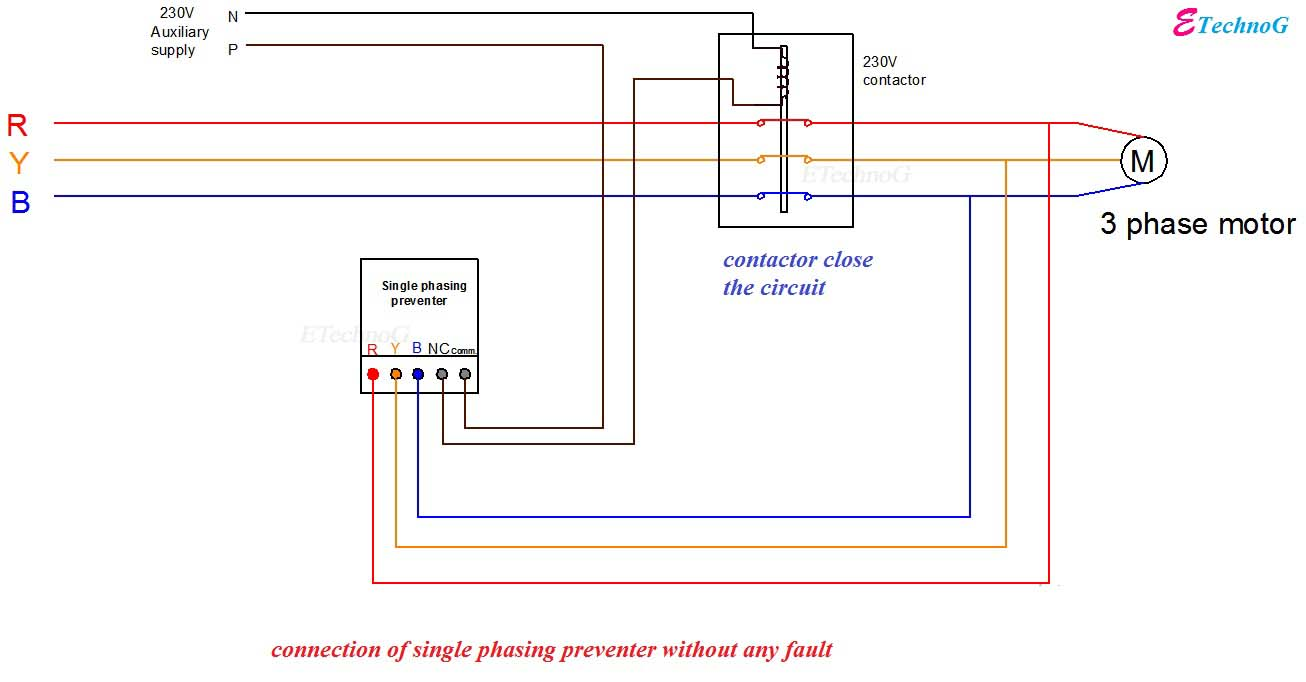 Wiring Diagram Of Contactor Glass Eye Parts Working And Connection Single Phasing Preventer Etechnog