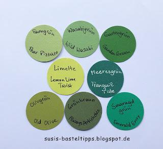 Limette, Meeresgrün, Puderrosa, Sommerbeere und Feige: die neuen Stampin' Up! In Colors 2017/18i m Vergleich mit aktuellen und älteren Farben, Comparison retired colors