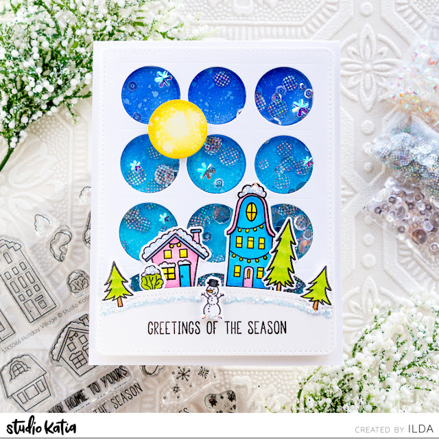 Studio Katia Winter Village Shaker Card by ilovedoingallthingscrafty.com
