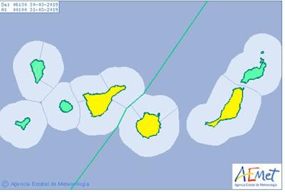 Gran Canaria en aviso amarillo por lluvias el sábado 30 de marzo, al igual que Tenerife y Fuerteventura