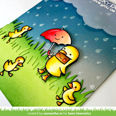Lucky Duck Card by Samantha Mann for Lawn Fawnatics Challenge, Distress Inks, Ink blending, Oxide Inks, Rain, Stencil, vellum, die cuts, spring, #lawnfawn #lawnfawnatcis #stenil #cards #friendship #rain #luckyduck