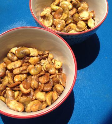 snack de habas al horno con especias