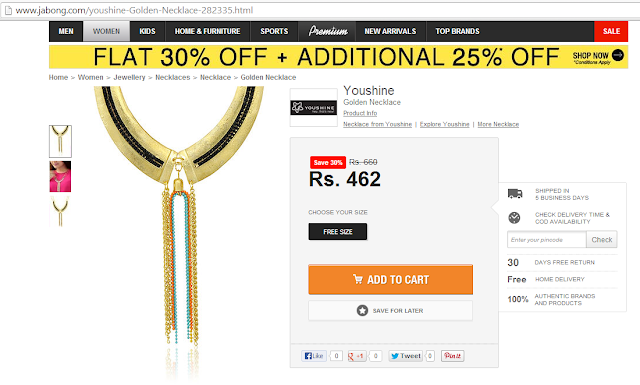 You Shine Gold necklace from Jabong.com