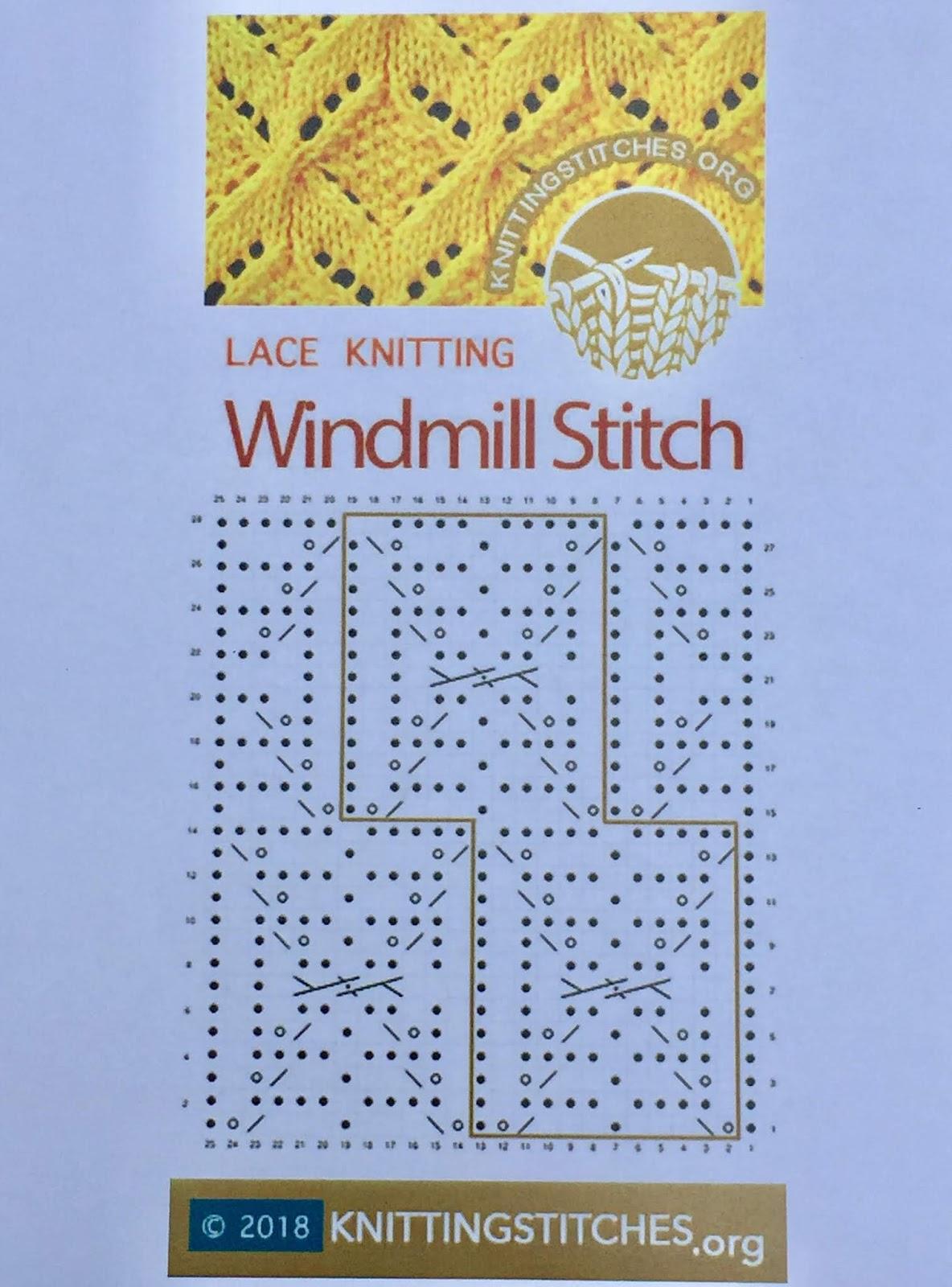 Knitting Stitches 2018 - Windmill Lace Pattern