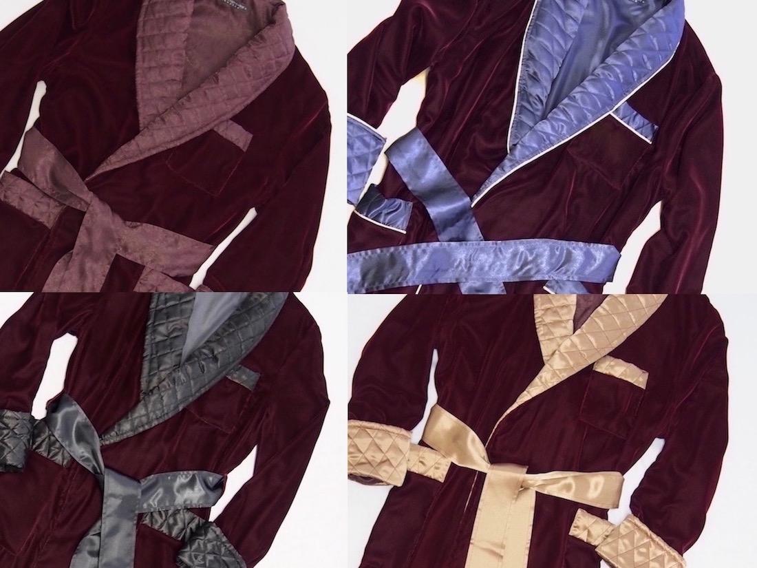 Men's Burgundy Velvet Dressing Gowns And Smoking Jackets