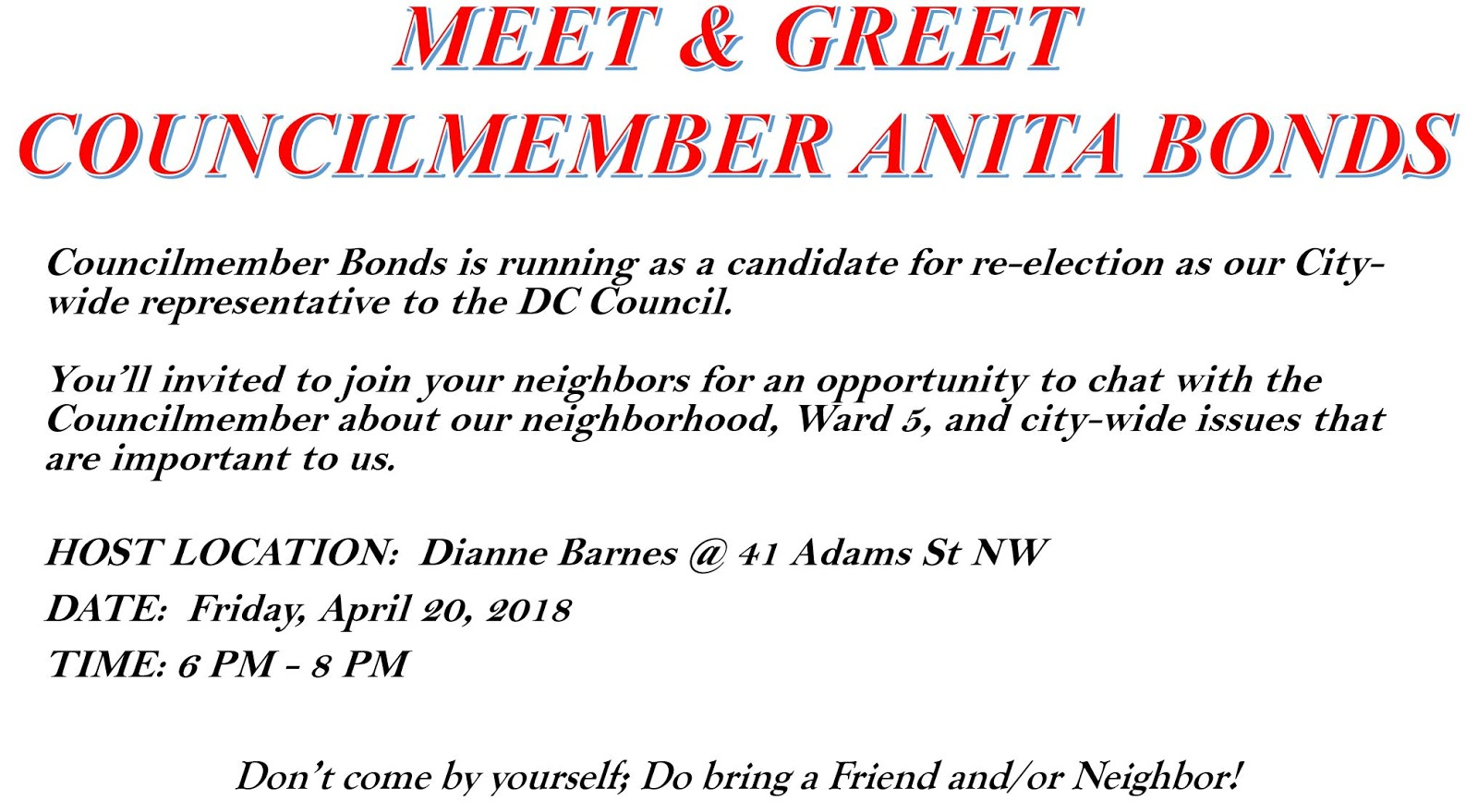 Bloomingdale Meet And Greet For Dc At Large Council Candidate Anita