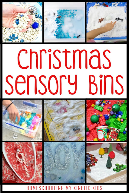 Christmas Sensory Bins // 45 Ways to Play During Winter Break // Homeschooling My Kinetic Kids // Keeping Kids Busy During Christmas // Slime Recipes // Play Dough // Sensory Bins // Handwriting Practice // Snow Play