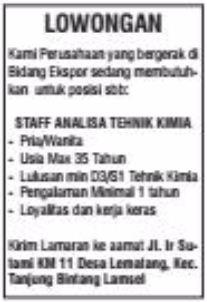 Job Lampung Terbaru ApriL 2017 Dari Perusahan Ekspor