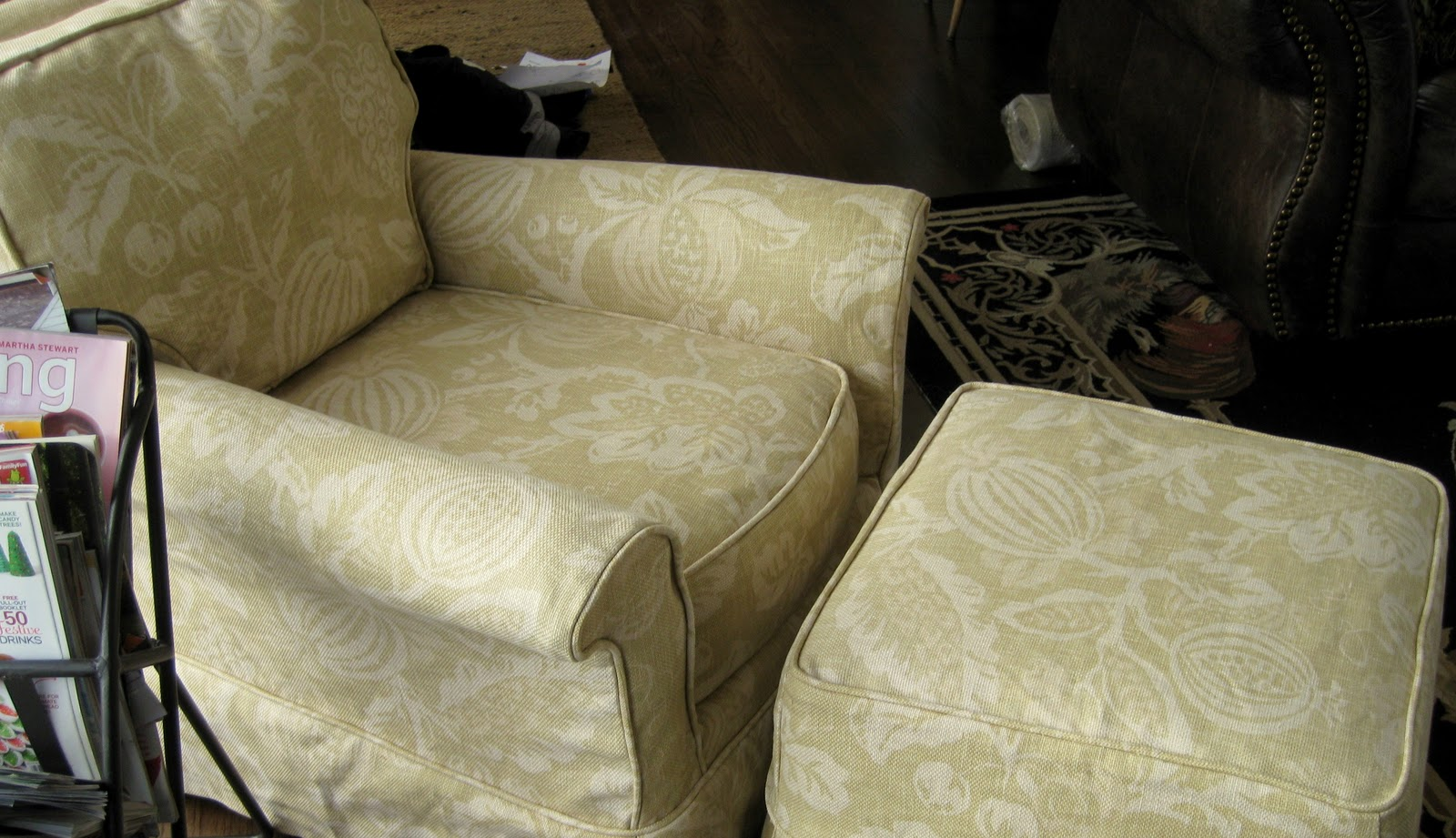Chair And Ottoman Slipcover Set Solid Cherry Wood Dining Table Chairs Custom Slipcovers By Shelley Floral
