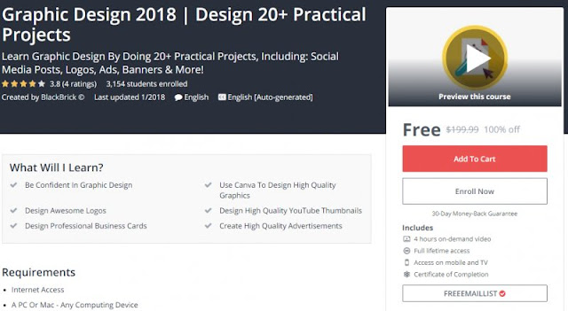 [100% Off] Graphic Design 2018   Design 20+ Practical Projects  Worth 199,99$