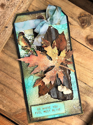 Sara Emily Barker Saturday Showcase Faux Bark and Leaf Tutorial for The Funkie Junkie Boutique #wendyvecchi #makeartblendabledyeink #timholtz #sizzixalterations #stampersanonymous