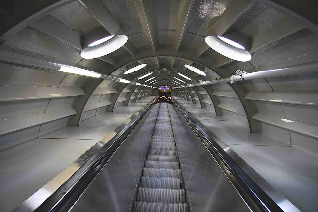 escalator inside the Atomium photograph