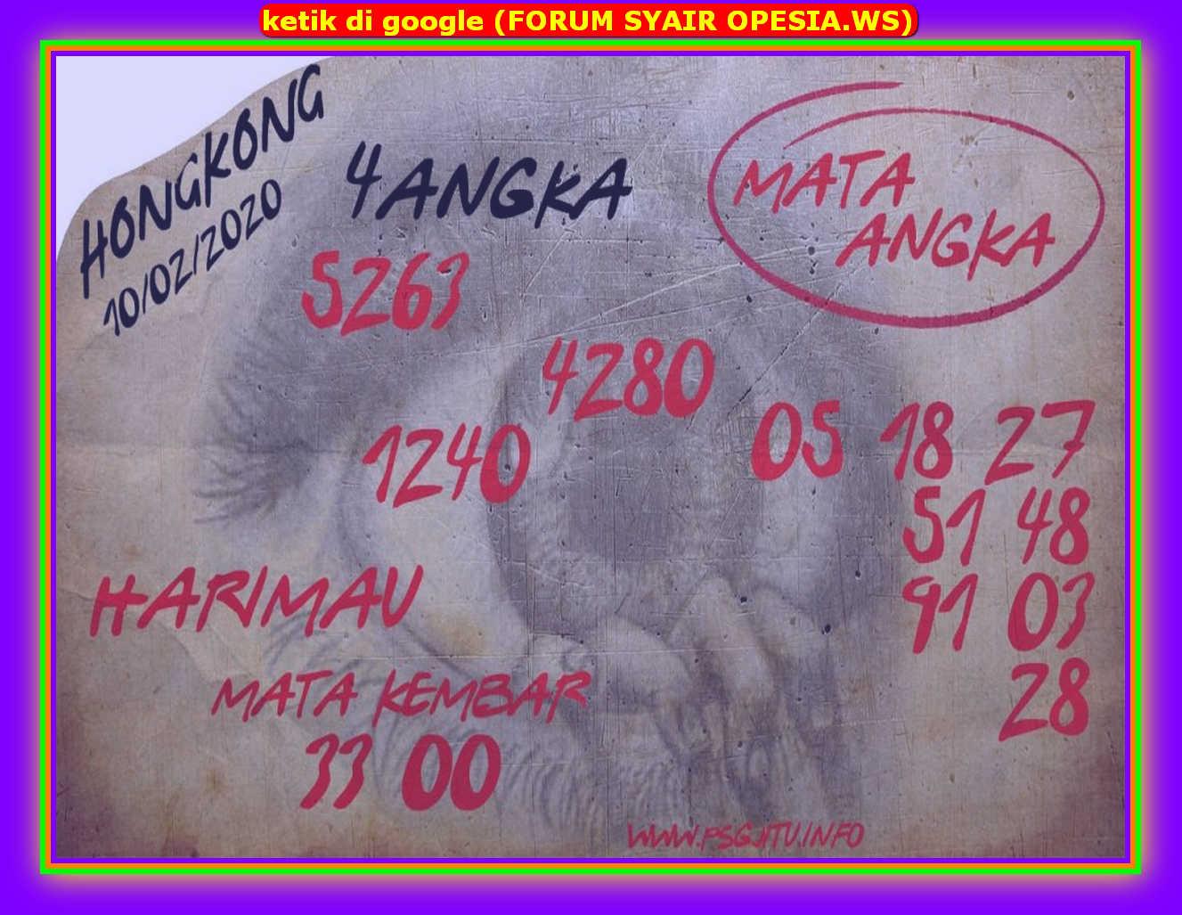 Kode syair Hongkong Senin 10 Februari 2020 188