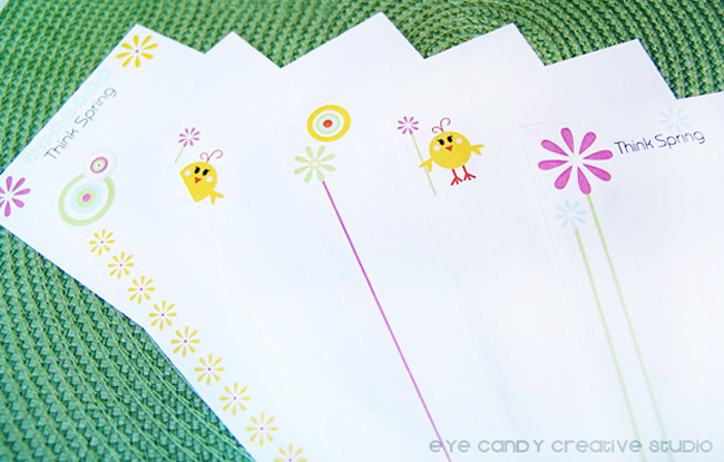 stationery paper designs, think spring paper designs, little chick, daisies