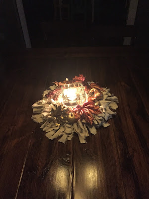 #millsnewhouse fall decorating, drop cloth wreath, fall centerpiece