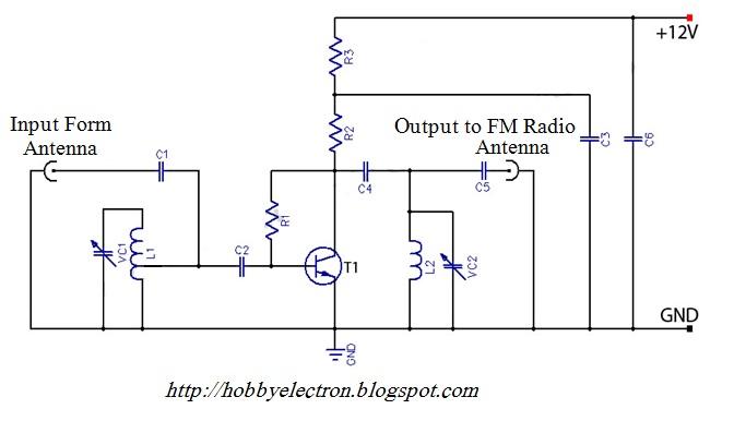 hobby in electronics active fm antenna amplifier of fm. Black Bedroom Furniture Sets. Home Design Ideas