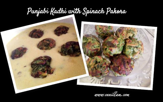 Punjabi style kadhi with spinach pakora