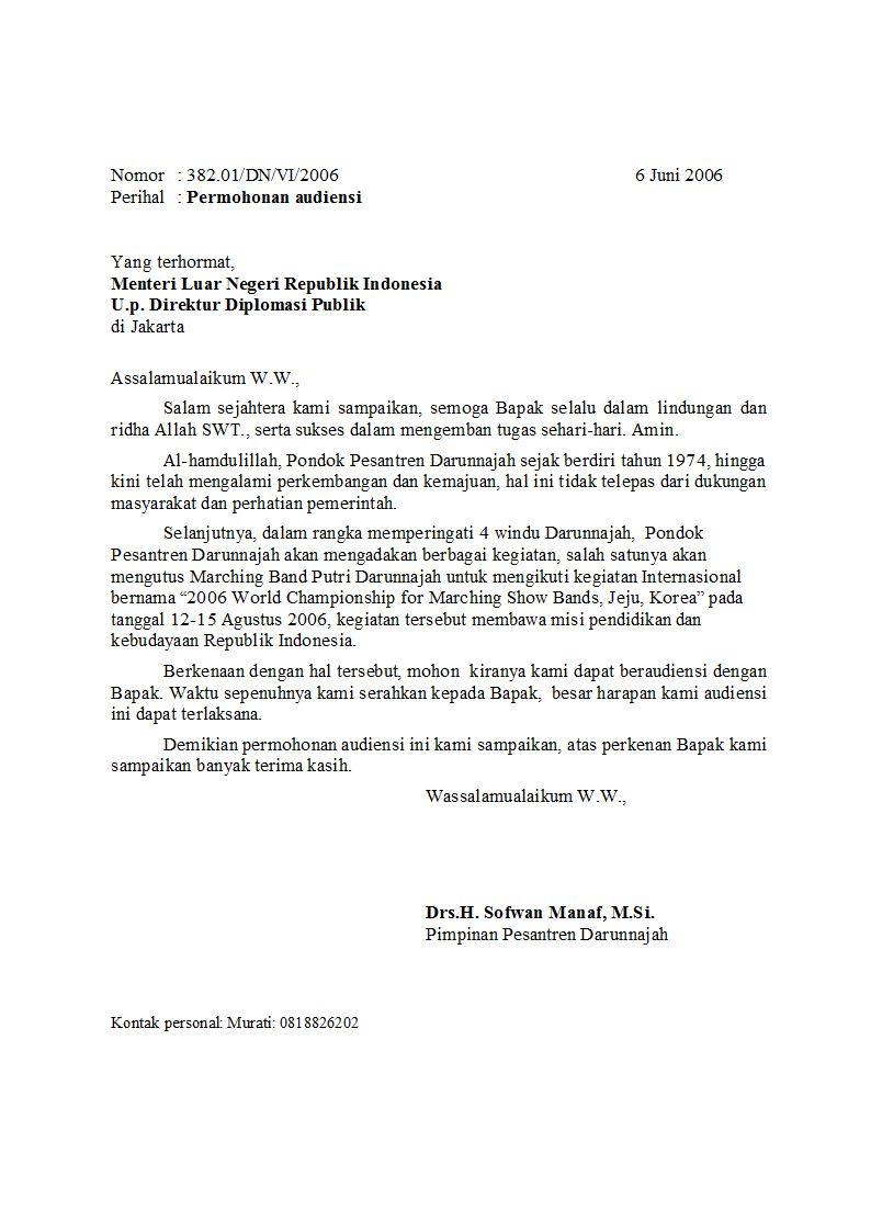 Contoh Surat Permohonan Audiensi Dengan Menteri
