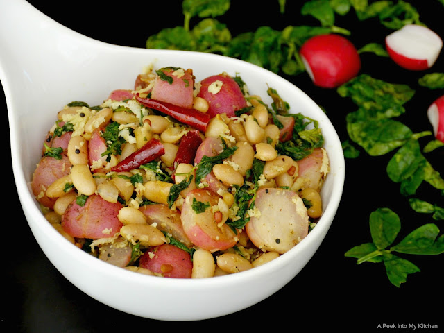 Peruvian (Mayocoba)  Beans and Radish Stir-Fry ~ Day 81