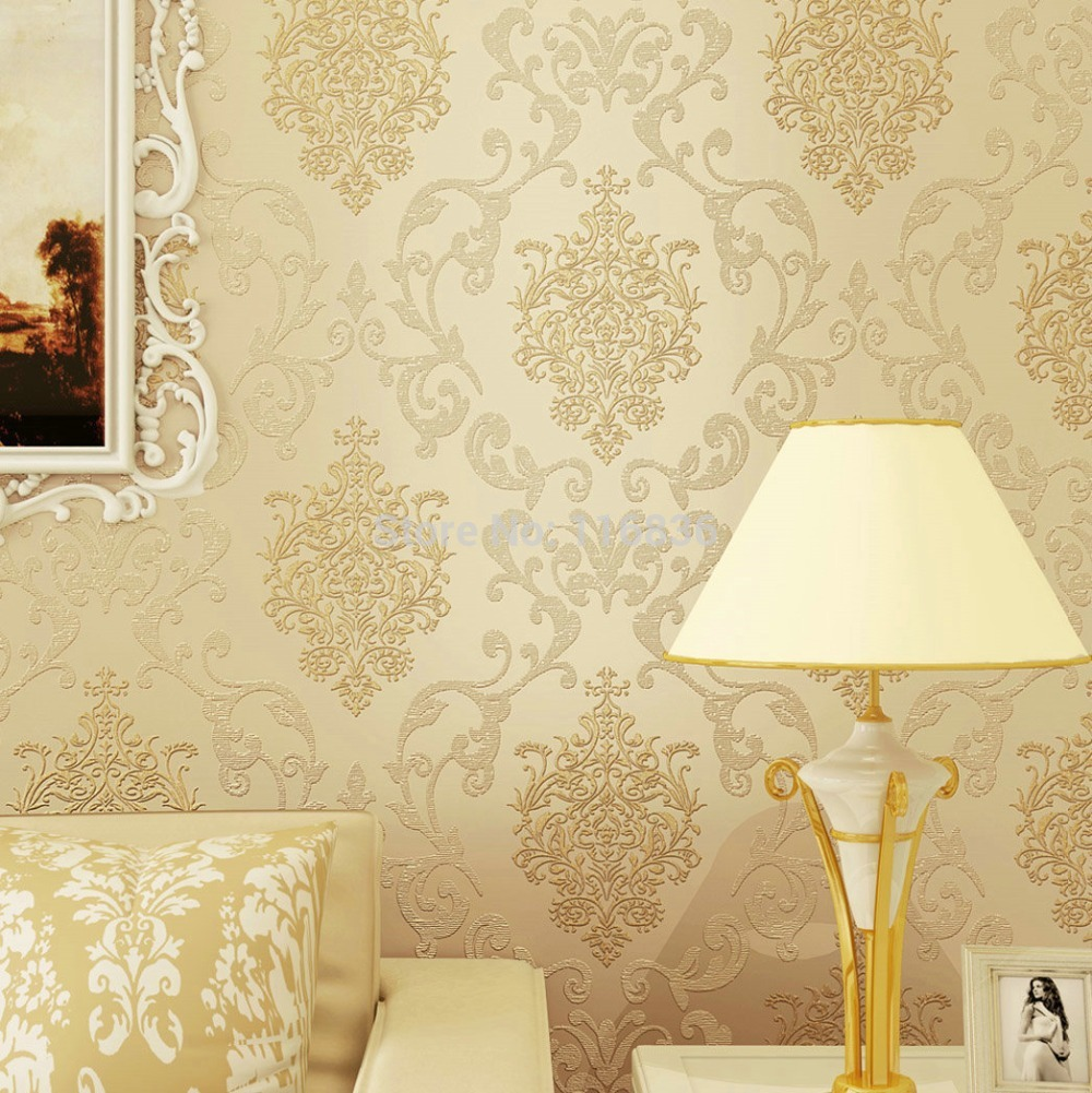 Vintage Classic Beige French Modern Damask Feature Wall paper Roll For Living Room Bedroom papel de