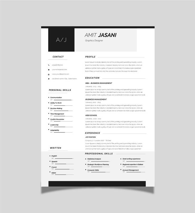 Download Template CV Word 100% Gratis - Free Contact Icons CV template