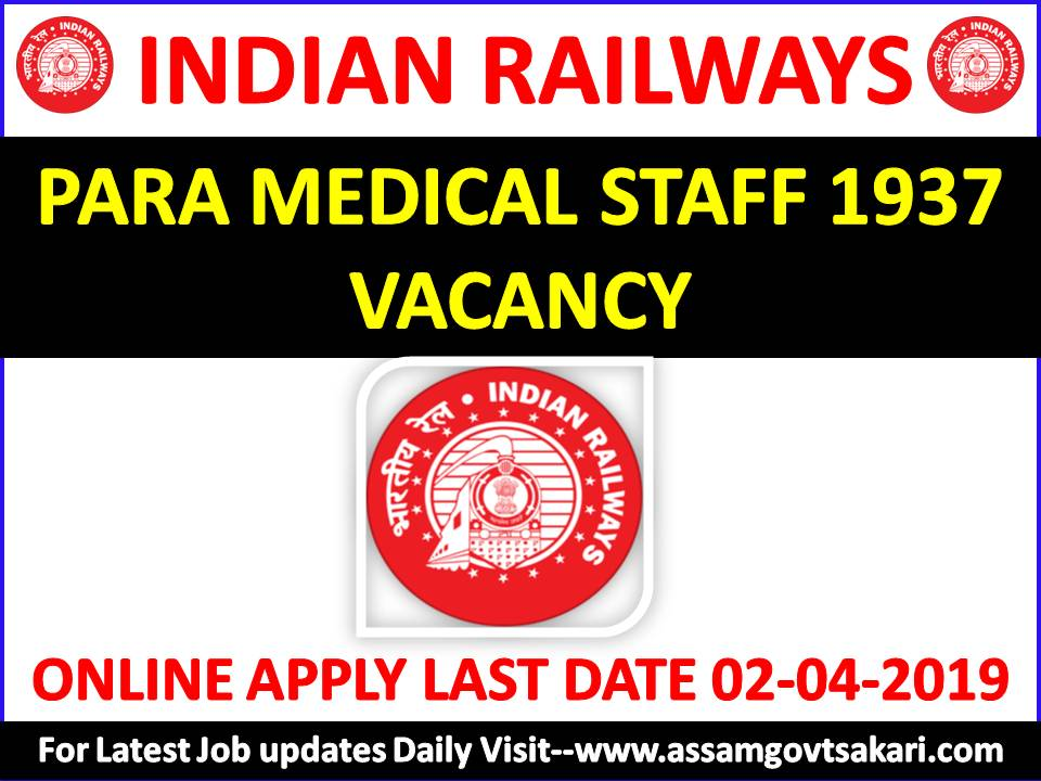 Railway Recruitment Board(RRB) Para Medical Staff 1937 Posts