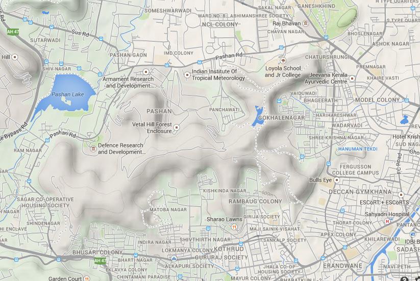 vetal hill pune road trek tekdi map