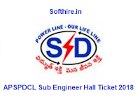 APSPDCL Sub Engineer Hall Ticket