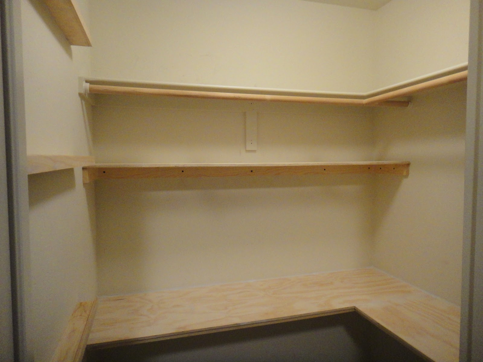 After Closet Was Cleared We Built A Lower Shelf 18 L Shaped Desktop With 3 4 Plywood And Book Photo Ledges