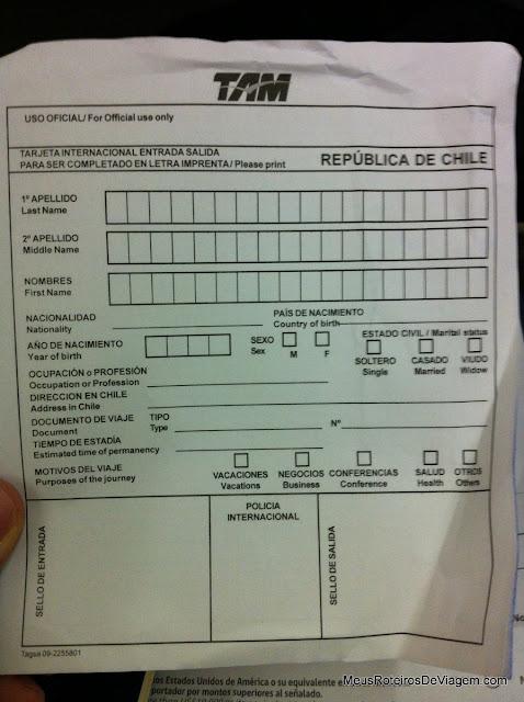 Formulário da Imigração - Chile
