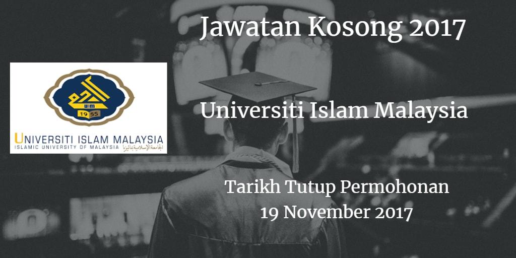 Jawatan Kosong UIM 19 November 2017