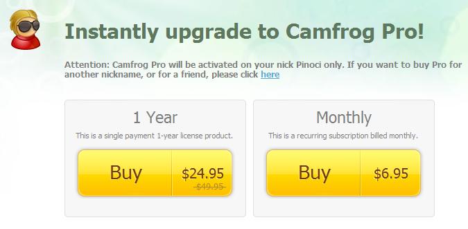 Camfrog PRO Code 1 Tahun $25 (Setengah Harga)