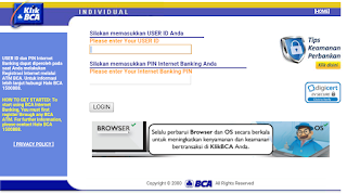 tampilan klik bca pada situs desktop