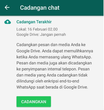 Cadangkan Chat WhatsApp