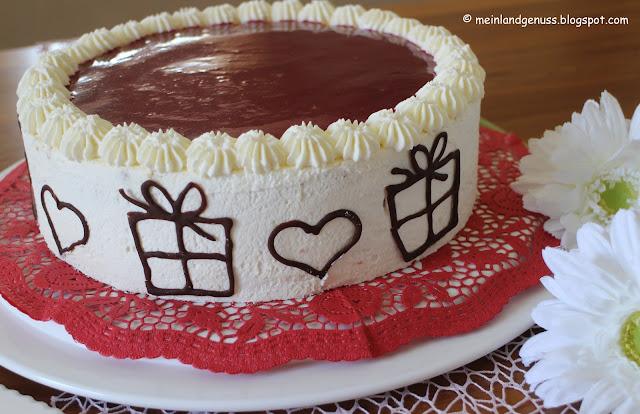 Toblerone-Haselnuss-Torte mit Himbeerspiegel