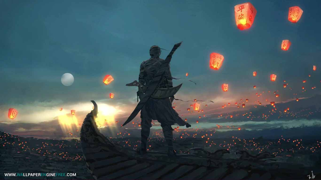 sky lantern 1080p wallpaper