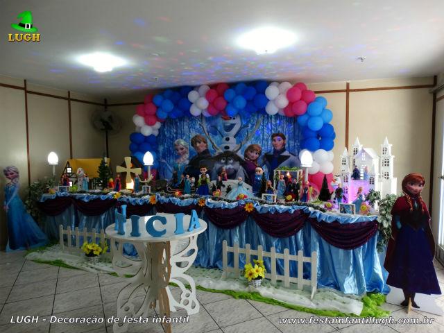 Decoração Frozen tradicional super luxo - Mesa decorativa infantil em tecido
