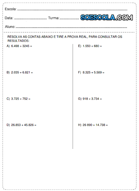 Atividades de matemática 4° ano adição e subtração