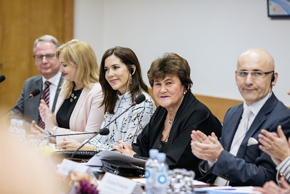Crown Princess Mary visited Public Health Institute in Moldova. Crown Princess Mary wore Sirup Stine Goya Blouse