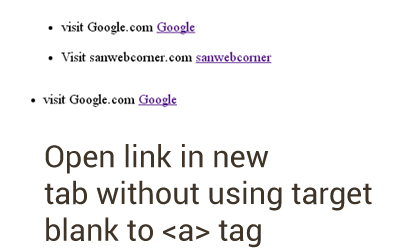 Open link in new tab without target _blank using javascript